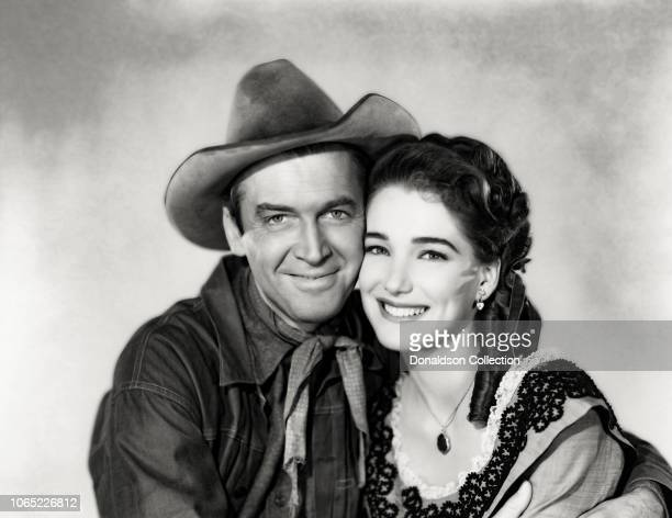 Actress Julie Adams and James Stewart in a scene from the movieBend of the River