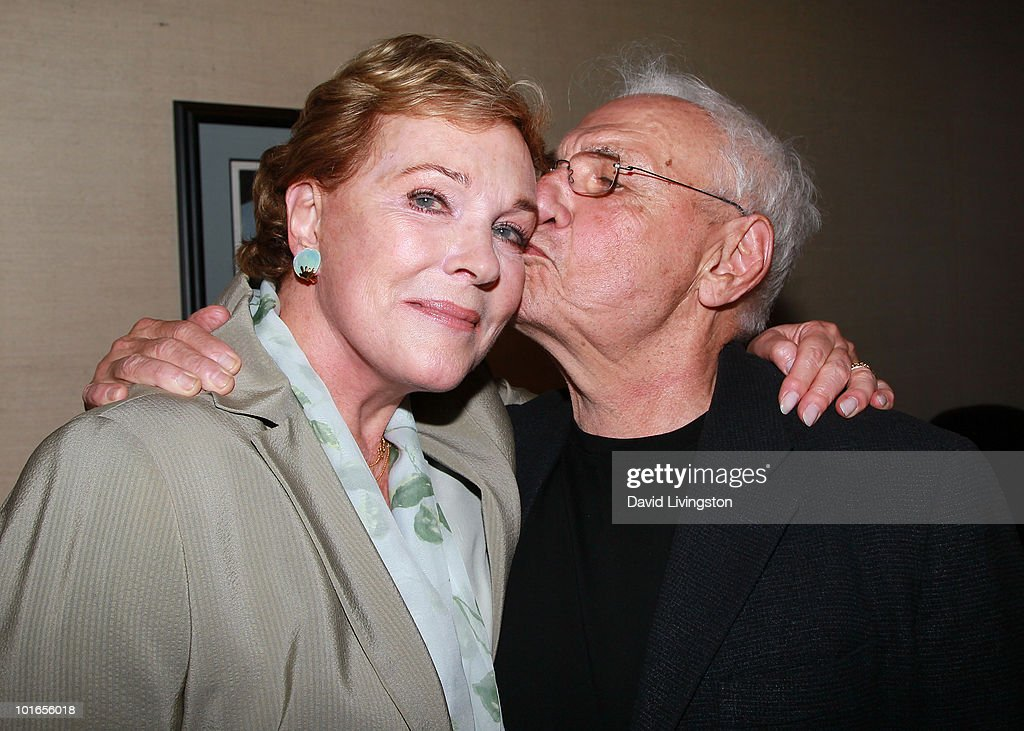 Actress Julie Andrews (L) and architect Frank Gehry attend Blake Edwards' art exhibit preview at Leslie Sacks Fine Art on June 5, 2010 in Brentwood, California.