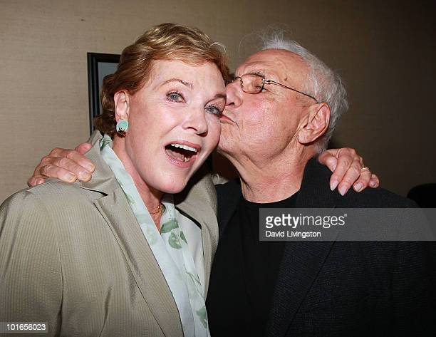 Actress Julie Andrews and architect Frank Gehry attend Blake Edwards' art exhibit preview at Leslie Sacks Fine Art on June 5 2010 in Brentwood...
