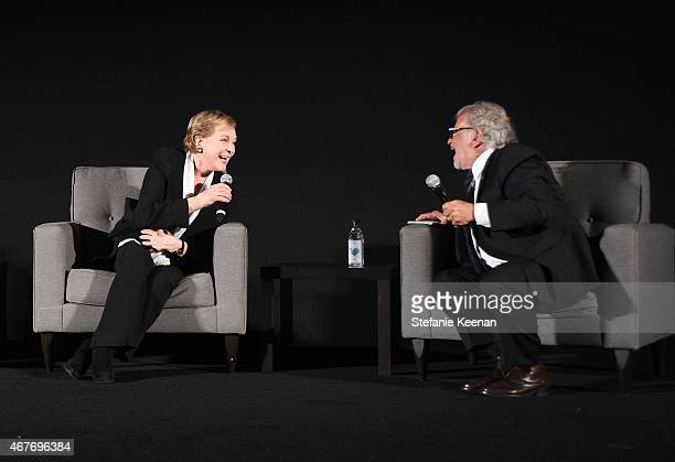 Actress Julie Andrews and First Vice President of the Academy of Motion Pictures Arts and Sciences Sid Ganis speak onstage at the Opening Night Gala...