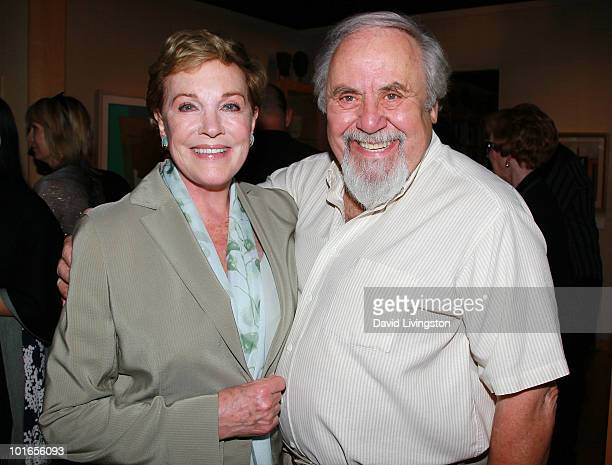 Actress Julie Andrews and producer George Schlatter attend Blake Edwards' art exhibit preview at Leslie Sacks Fine Art on June 5 2010 in Brentwood...