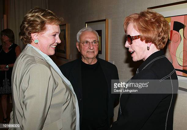 Actress Julie Andrews architect Frank Gehry and actress Carol Burnett attend Blake Edwards' art exhibit preview at Leslie Sacks Fine Art on June 5...