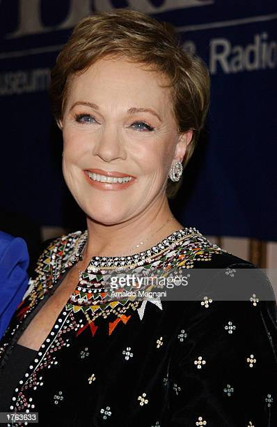 Actress Julie Andrews arrives at the Museum of Radio and Television of New York annual gala February 5 2003 at the Waldorf Astoria Grand Ballroom in...
