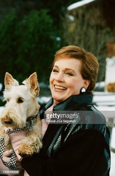 Actress Julie Andrews Holding Her Dog
