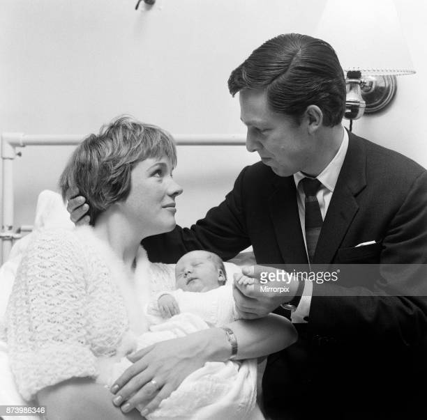 Actress Julie Andrews of 'My Fair Lady' fame pictured in the London Clinic with her new baby daughter which she will name either Emma Kate Sarah or...