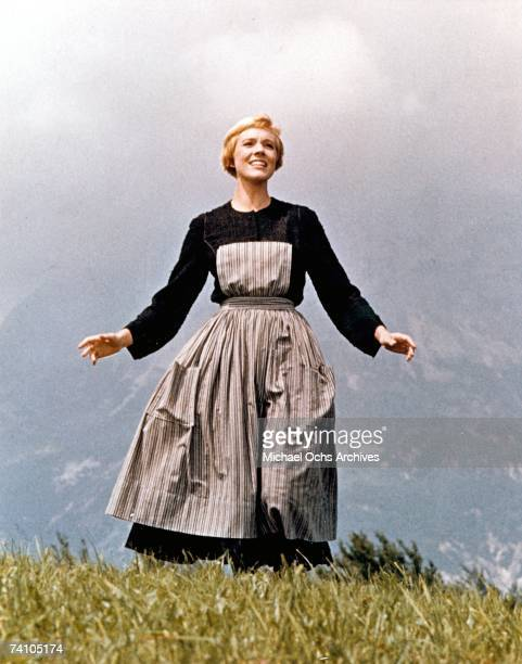 Actress Julie Andrews performs musical number in the movie The Sound Of Music directed by Robert Wise Though this is the opening scene of the film it...