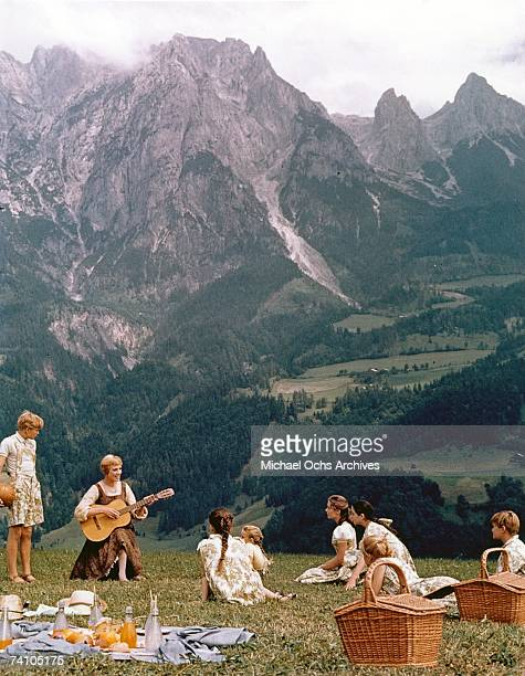 Actress Julie Andrews performs musical number in the movie The Sound Of Music directed by Robert Wise Winner of 5 Academy Awards including Best...