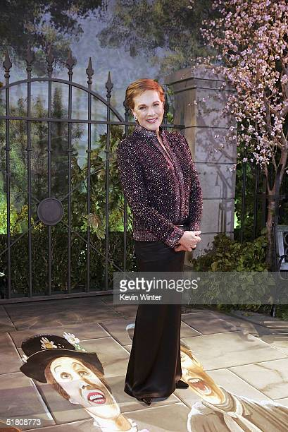 Actress Julie Andrews poses at Disney's 'Mary Poppins' 40th Anniversary Edition DVD release party at El Capitan Theater on Novenber 30 2004 in Los...