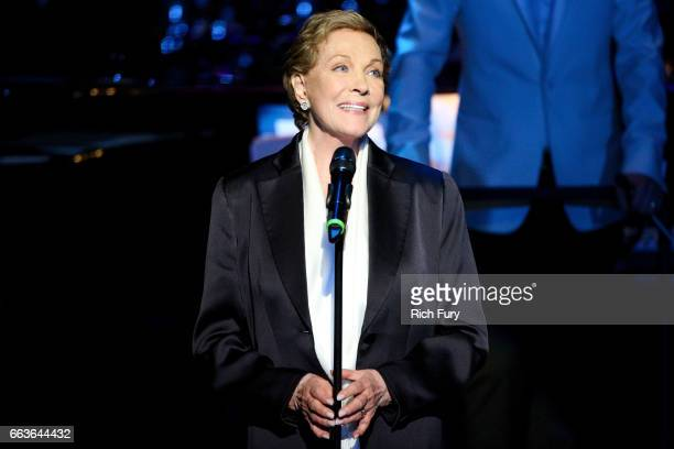 Actress Julie Andrews speaks at Mancini Delivered A Musical Tribute To Ginny And Henry Mancini at Wallis Annenberg Center for the Performing Arts on...