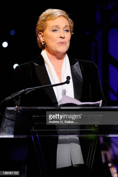 Actress Julie Andrews speaks onstage at the VH1 Save The Music Foundation 2010 Gala at Cipriani Wall Street on November 8, 2010 in New York City.