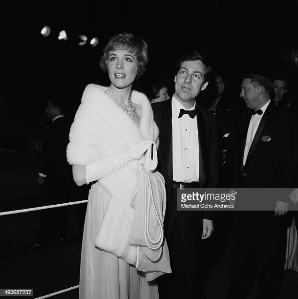 Actress Julie Andrews with husband Tony Walton attend the premiere of 'Sound of Music' in Los Angeles California