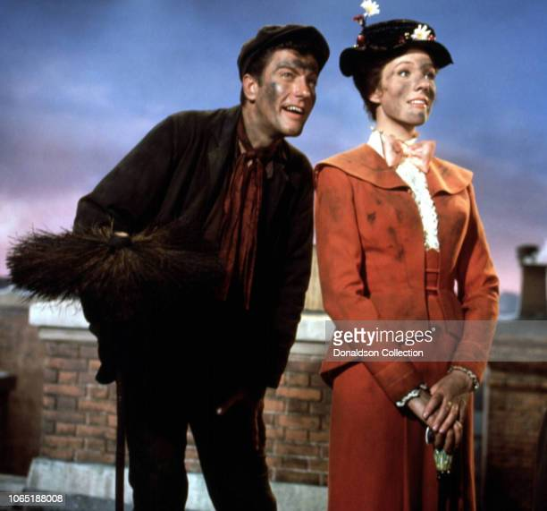 Actress Julie Andrewsand Dick Van Dyke in a scene from the movieMary Poppins
