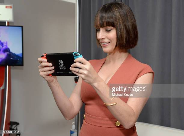 Actress Julie Ann Emery from the television series 'Preacher' stopped by Nintendo at the TV Insider Lounge to check out Nintendo Switch during...