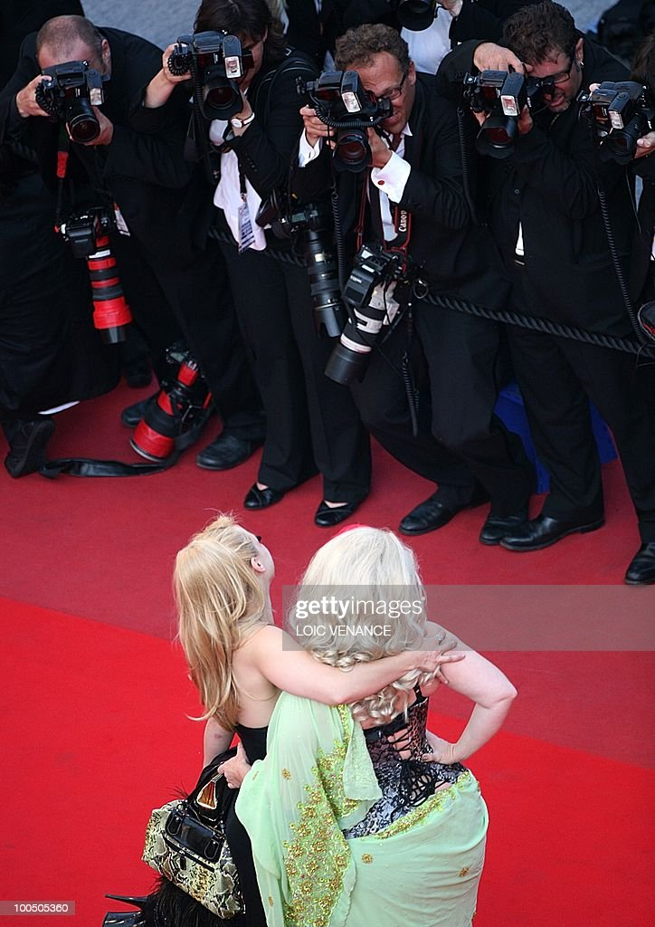 actress Julie Atlas Muz (L) and actress Dirty Martini arrive for the closing ceremony at the 63rd Cannes Film Festival on May 23, 2010 in Cannes.