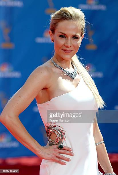 Actress Julie Benz arrives at the 62nd Annual Primetime Emmy Awards held at the Nokia Theatre LA Live on August 29 2010 in Los Angeles California