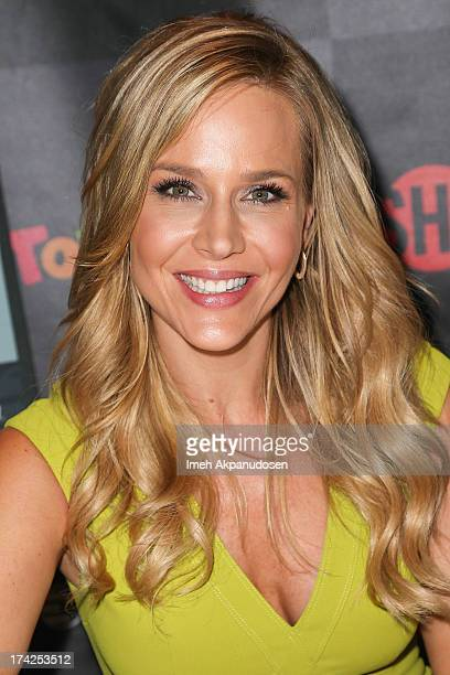 Actress Julie Benz signs autographs for fans during day 2 of ComicCon International 2013 on July 19 2013 in San Diego California