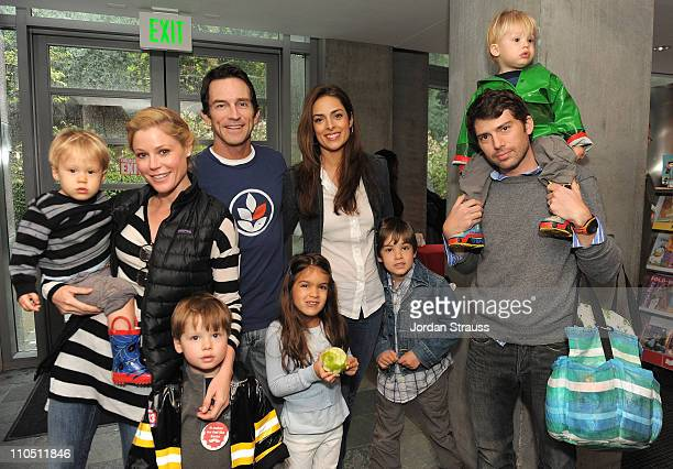 Actress Julie Bowen Actor Jeff Probst Lisa Russell and Scott Phillips with families attend the Milk Bookies Second Annual Story Time Celebration held...