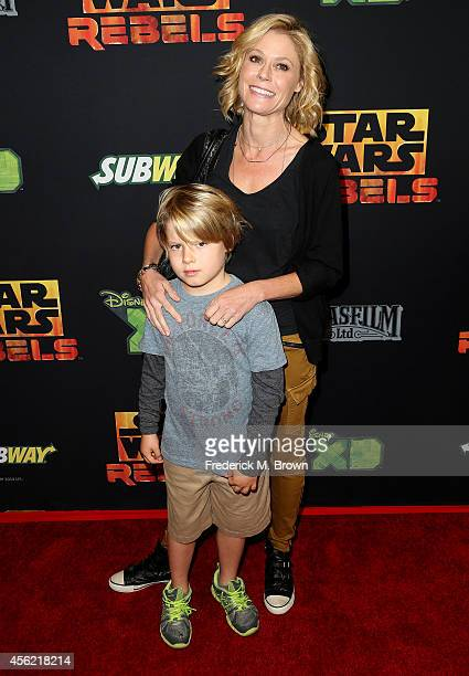 Actress Julie Bowen and her son Oliver McLanahan Phillips attend the Screening of Disney XD's Star Wars Rebels Spark of Rebellion at the AMC Century...