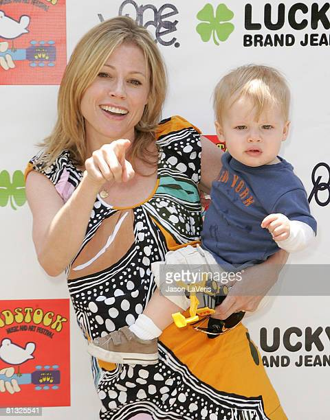 Actress Julie Bowen and her son Oliver McLanahan Phillips attend the Second Annual Kidstock Music and Art Festival on June 1 2008 in Beverly Hills...