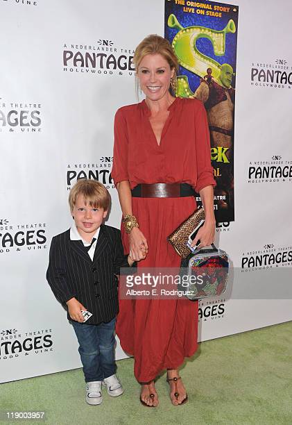 Actress Julie Bowen and son Oliver McLanahan Phillips arrive to the Los Angeles Opening Night of Shrek The Musical' at the Pantages Theatre on July...