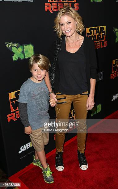 Actress Julie Bowen and son Oliver McLanahan Phillips attend a screening of Disney XD's Star Wars Rebels Spark of Rebellion at AMC Century City 15...