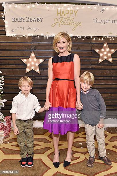 Actress Julie Bowen and sons attend the Baby2Baby Holiday Party Presented By Tiny Prints At Montage Beverly Hills on December 6, 2015 in Beverly...