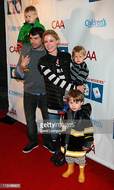 Actress Julie Bowen husband Scott Phillips and sons Gus Phillips John Phillips and Oliver Phillips attend the 2nd Annual Milk Bookies Story Time...