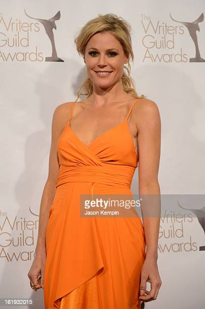 Actress Julie Bowen poses in the press room during the 2013 WGAw Writers Guild Awards at JW Marriott Los Angeles at LA LIVE on February 17 2013 in...