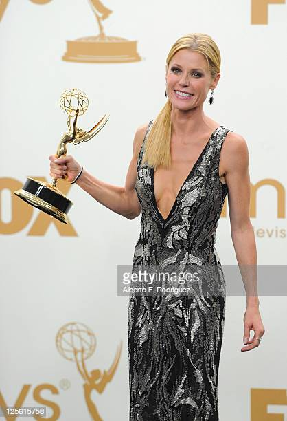 Actress Julie Bowen poses in the press room during the 63rd Annual Primetime Emmy Awards held at Nokia Theatre LA LIVE on September 18 2011 in Los...