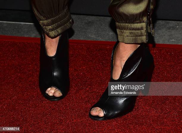 """Actress Julie Bowen, shoe detail, arrives at the Los Angeles premiere of """"See You In Valhalla"""" at the ArcLight Cinemas on April 21, 2015 in..."""