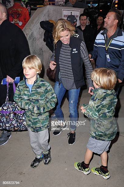 Actress Julie Bowen sons Jack and Gustav arrive at the Monster Jam at Angel Stadium of Anaheim on January 16 2016 in Anaheim California