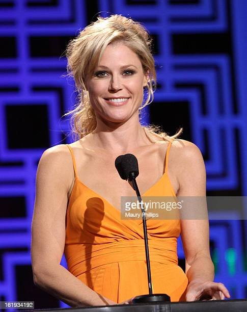 Actress Julie Bowen speaks onstage at the 2013 WGAw Writers Guild Awards at JW Marriott Los Angeles at LA LIVE on February 17 2013 in Los Angeles...