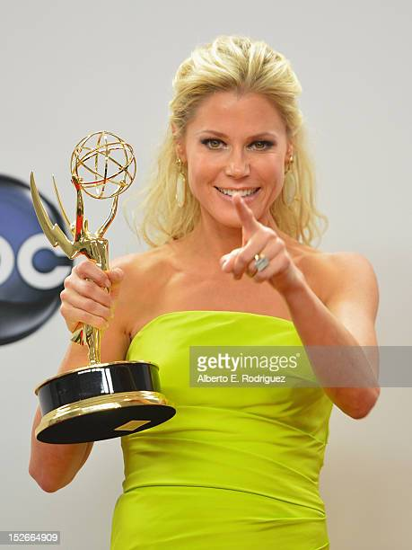 Actress Julie Bowern poses in the 64th Annual Emmy Awards press room at Nokia Theatre LA Live on September 23 2012 in Los Angeles California
