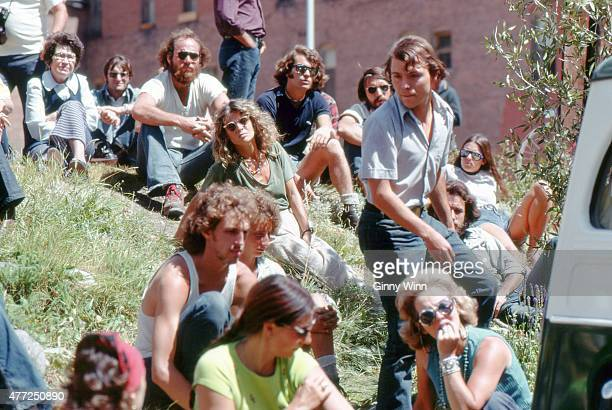 Actress Julie Christie attends an outdoor event during the first annual Telluride Film Festival in 1974 in Telluride Colorado