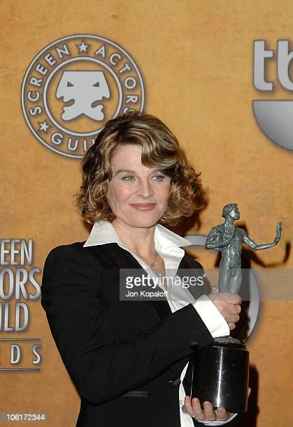 Actress Julie Christie poses with the Outstanding Performance by a Female Actor in a Leading Role award for 'Away From Her' in the press room at the...