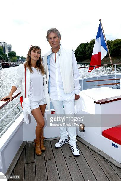 Actress Julie de Bona and Dominique Desseigne attend the 'Brunch Blanc' hosted by Barriere Group Held on Yacht 'Excellence' on June 29 2014 in Paris...