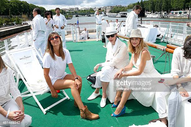 Actress Julie de Bona director Geraldine Maillet and actress Helene de Fougerolles attend the 'Brunch Blanc' hosted by Barriere Group Held on Yacht...