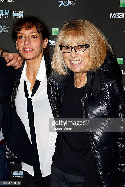 Actress Julie Debazac and Actress Mireille Darc attend '1 mobile, 1 minute, 1 film' As Part Of Mobile Film Festival at Gaumont Champs Elysees on...