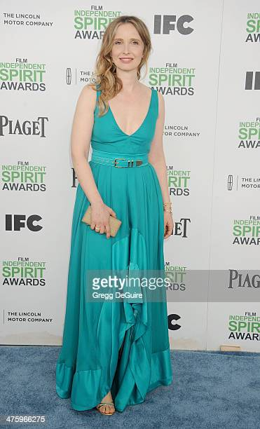 Actress Julie Delpy arrives at the 2014 Film Independent Spirit Awards on March 1 2014 in Santa Monica California