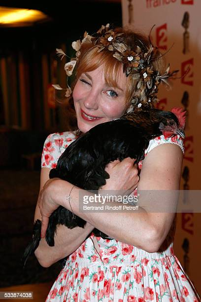 Actress julie Depardieu and her Chicken attend La 28eme Nuit des Molieres on May 23 2016 in Paris France