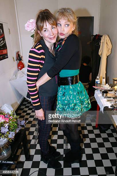 Actress Julie Depardieu and Singer Arielle Dombasle pose Backstage after Arielle Dombasle performed at La Cigale on November 4 2015 in Paris France