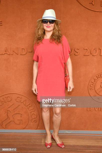Actress Julie Ferrier attends the 2018 French Open Day Eight at Roland Garros on June 3 2018 in Paris France