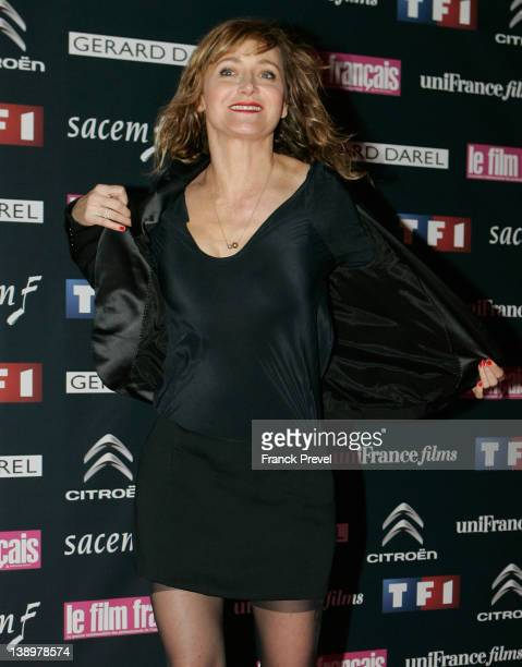 Actress Julie Ferrier attends the 'Trophees Du Film Francais 2012' photocall at Palais Brongniart on February 14 2012 in Paris France