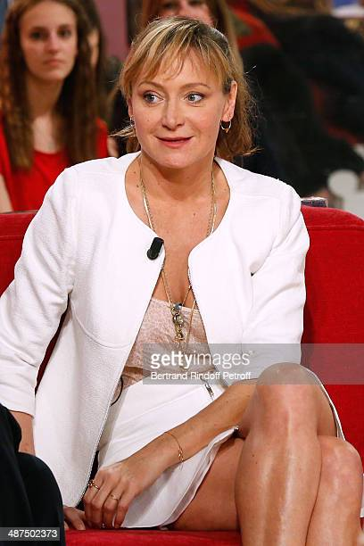 Actress Julie Ferrier presents the movie 'Sous les jupes des filles' at the 'Vivement Dimanche' French TV Show at Pavillon Gabriel on April 30 2014...