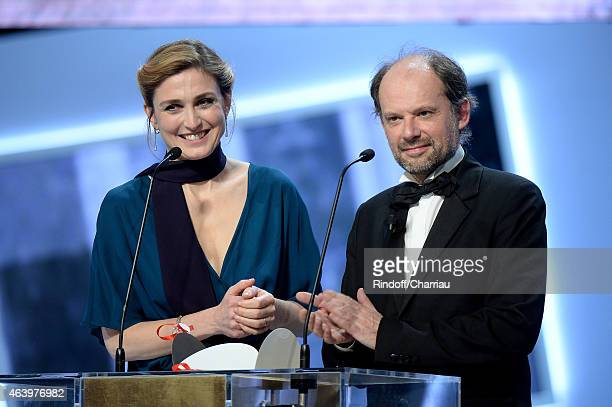 Actress Julie Gayet and actor Denis Podalydes attend the 40th Cesar Film Awards 2015 Ceremony at Theatre du Chatelet on February 20 2015 in Paris...