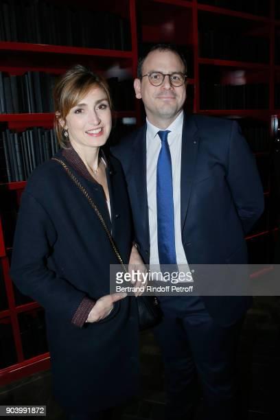 Actress Julie Gayet and CEO of 'Monnaie de Paris' Aurelien Rousseau attend the Vendorama Exhibition as Boucheron Celebrates its 160th Anniversary at...