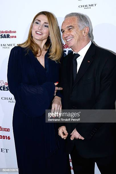 Actress Julie Gayet and President of the 'Cesar' the French Academy Awards Alain Terzian attend the 'Cesar Revelations 2016' Photocall at Chaumet...