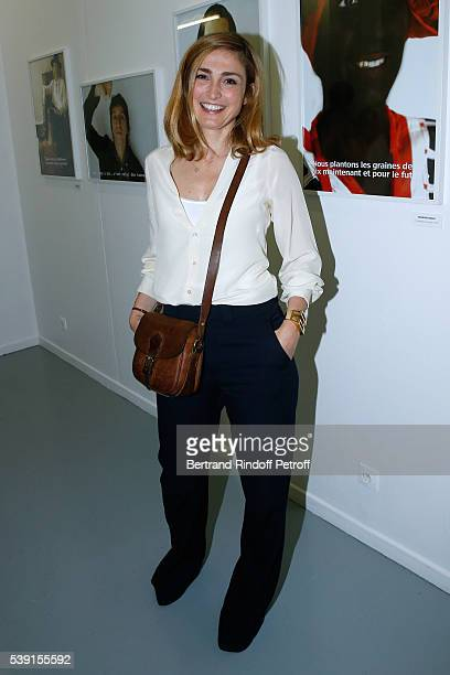 Actress Julie Gayet attends the '55 Politiques' Exhibition of Stephanie Murat's Pictures Opening Party at Galerie Dupin on June 9 2016 in Paris France