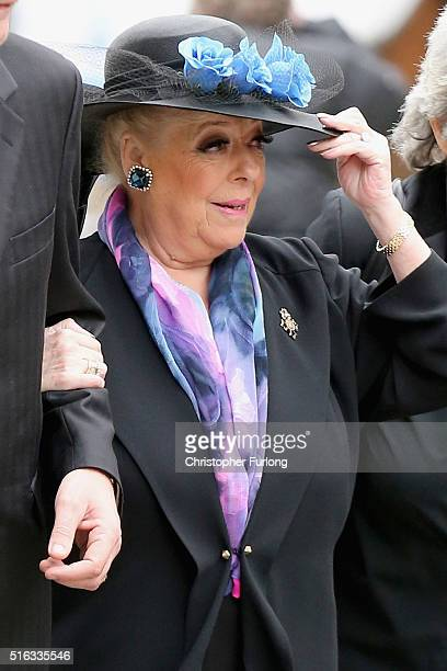 Actress Julie Goodyear arrives for the funeral of Coronation Street scriptwriter Tony Warren at Manchester Cathedral on March 18 2016 in Manchester...