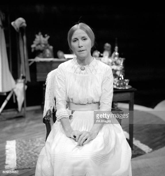 Actress Julie Harris on stage in the role of American poetess Emily Dickinson in the onewomen production of 'The Belle of Amherst'